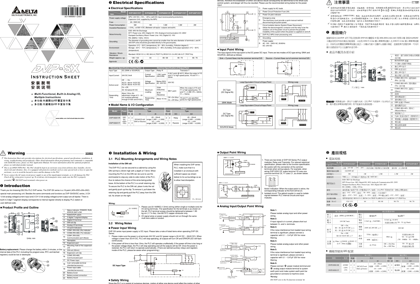 Delta Electronics Plc Dvp Series Sx Users Manual