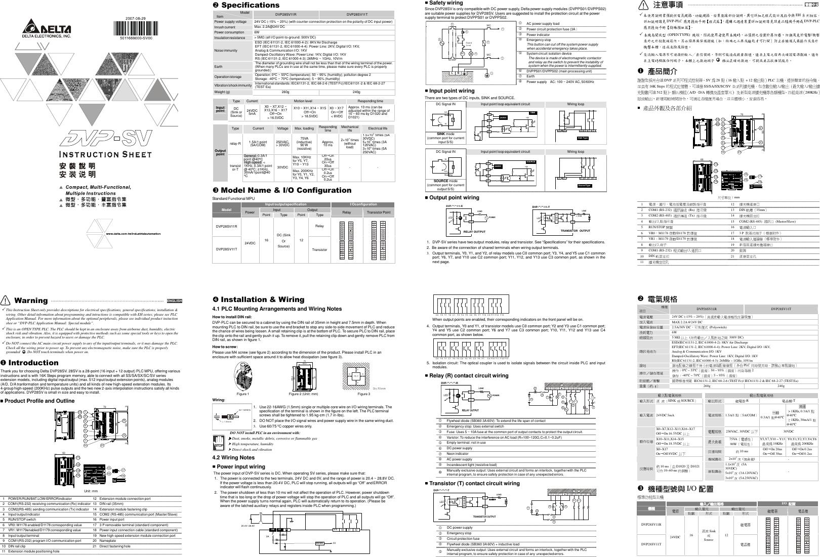 Delta Electronics Programmable Logic Controller Dvp28Sv