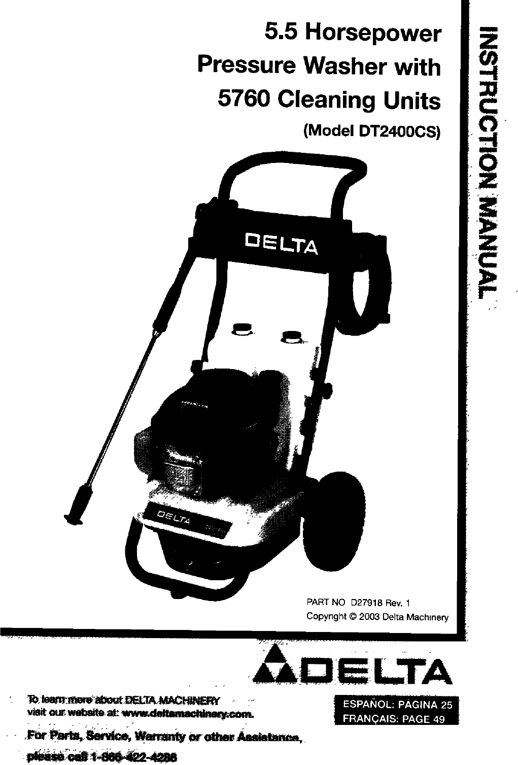 Delta DT2400CS User Manual PRESSURE WASHER Manuals And