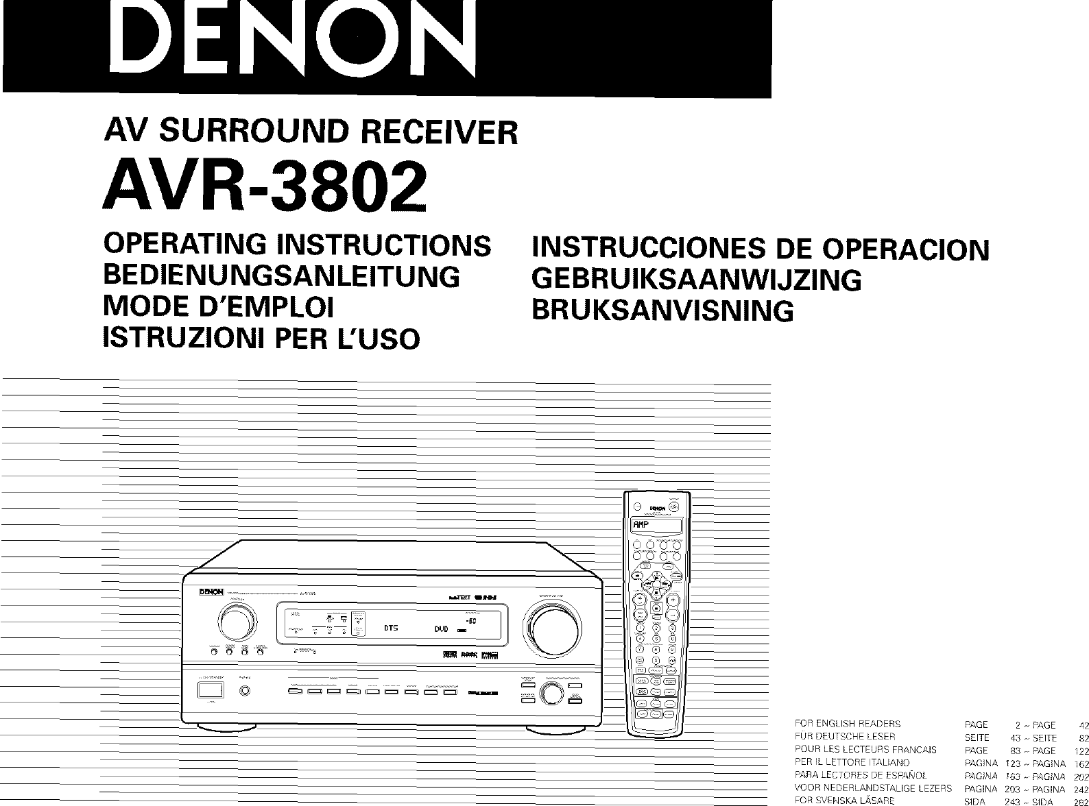 Denon AVR 1082 User Manual RECEIVER Manuals And Guides