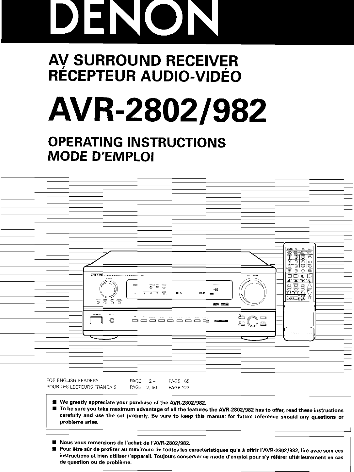 Denon AVR 2802 User Manual RECEIVER Manuals And Guides