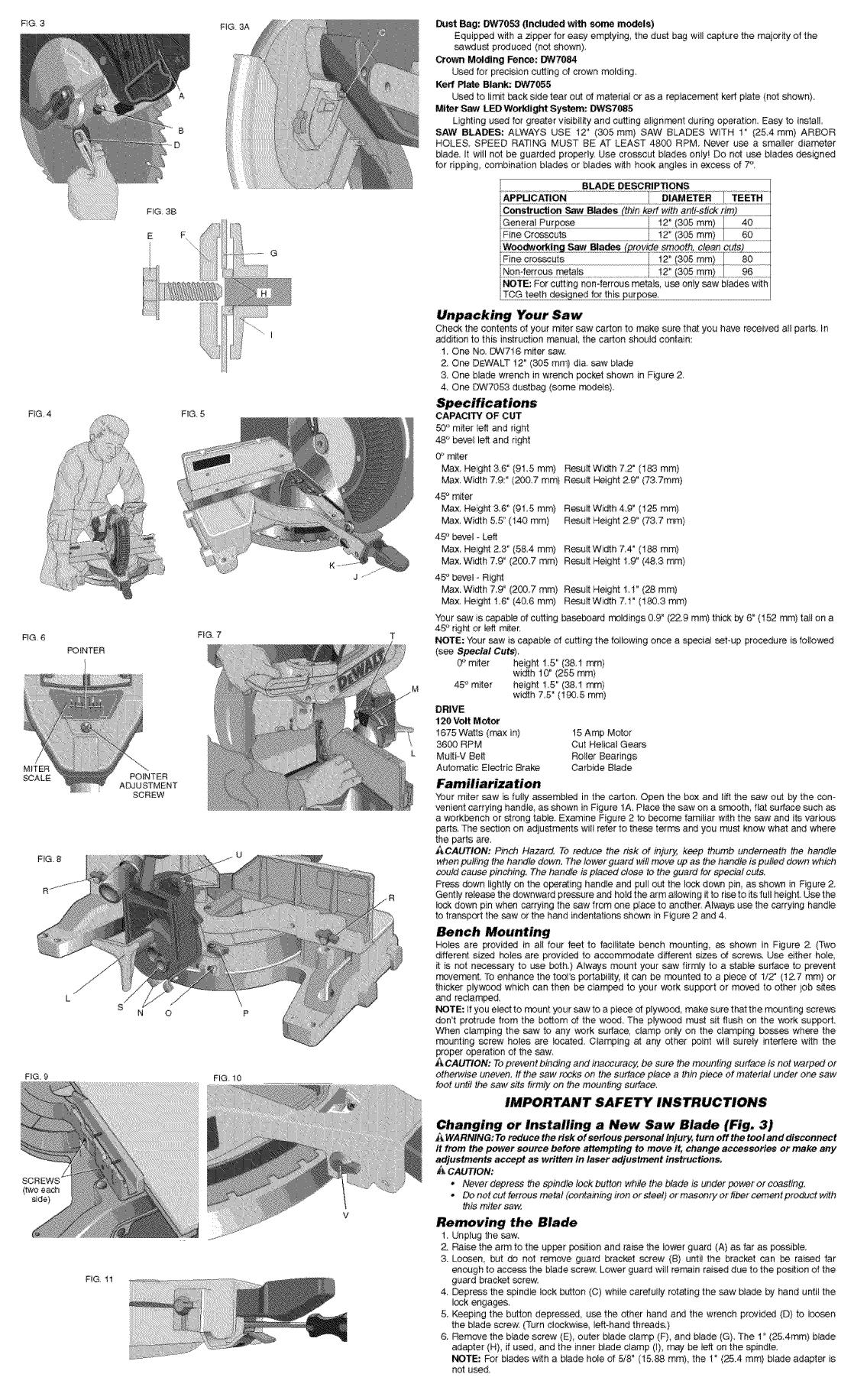 Dewalt DW716 TYPE3 User Manual MITER SAW Manuals And