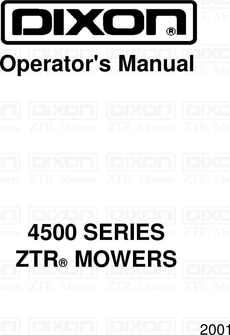 Dixon 13088 1100A Users Manual OM, ZTR 4500 SERIES, 4515B