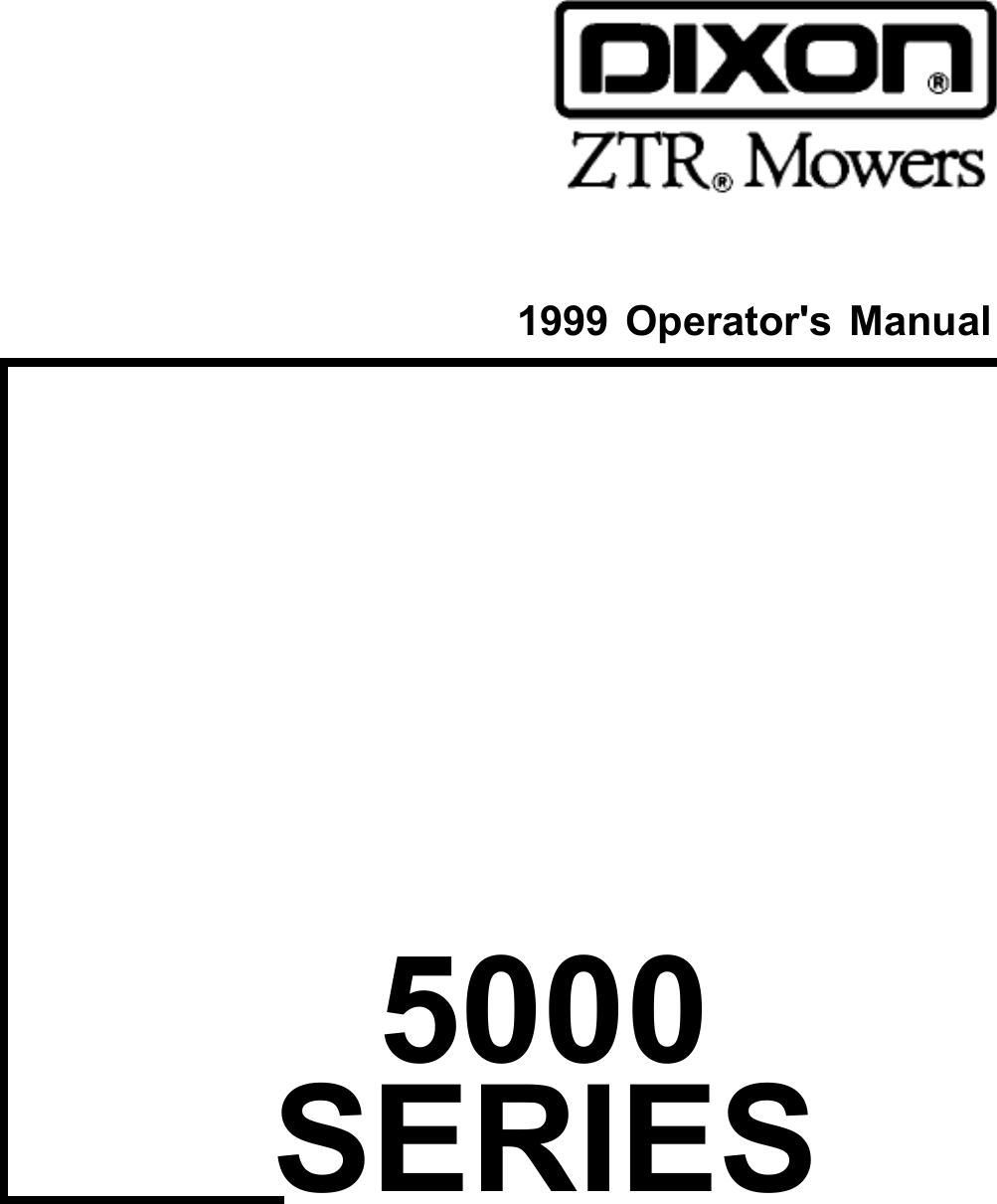Dixon Ztr 5017 Users Manual OM, 5000 SERIES, 5017, 5020