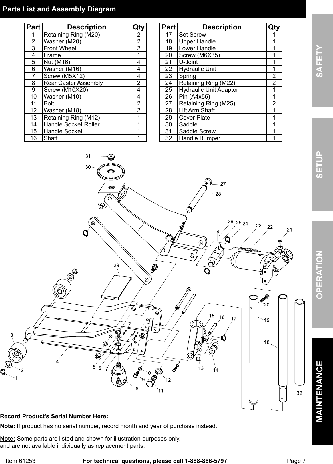 hight resolution of page 7 of 8 manual for the 61253 3 ton low profile steel heavy duty