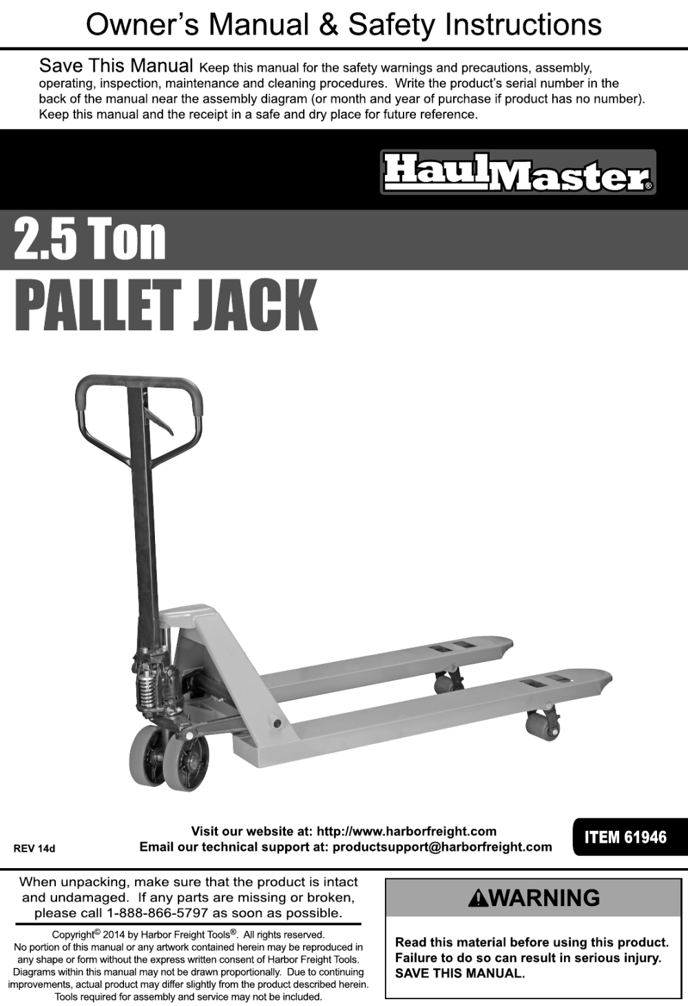 medium resolution of page 1 of 12 manual for the 61946 2 5 ton pallet jack