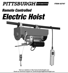 page 1 of 12 manual for the 62767 440 lb electric hoist with remote [ 1110 x 1620 Pixel ]