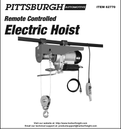 page 1 of 12 manual for the 62770 2000 lb electric hoist with remote [ 1118 x 1629 Pixel ]