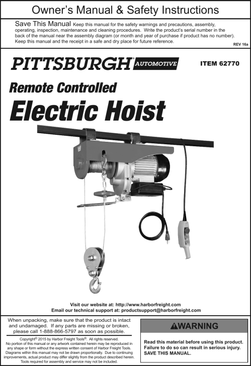small resolution of page 1 of 12 manual for the 62770 2000 lb electric hoist with remote