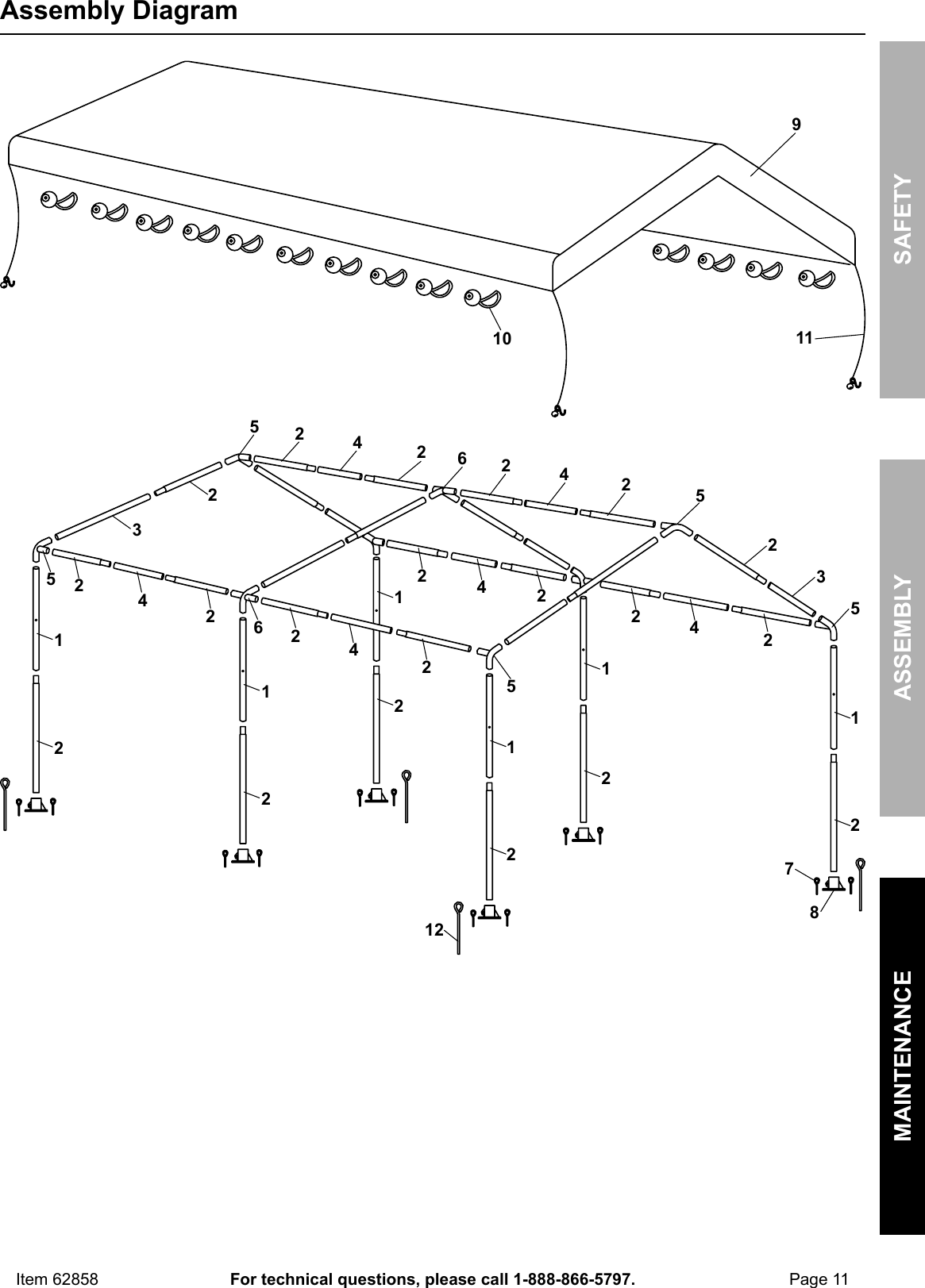 Manual For The 62858 10 Ft. X 20 Portable Car Canopy