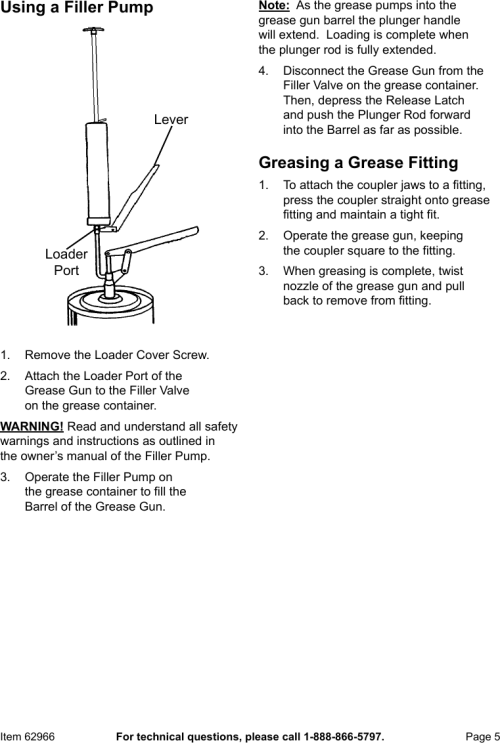 small resolution of page 5 of 8 manual for the 62966 lever action grease gun