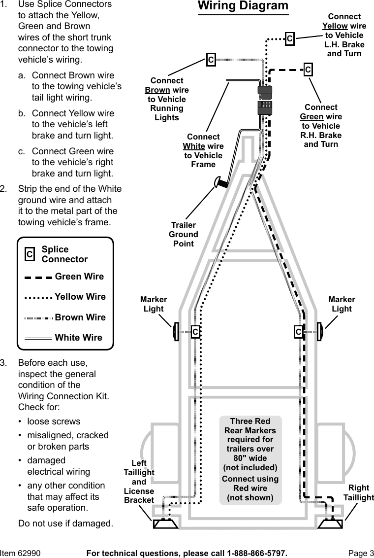 hight resolution of page 3 of 4 manual for the 62990 four way trailer wiring connection kit