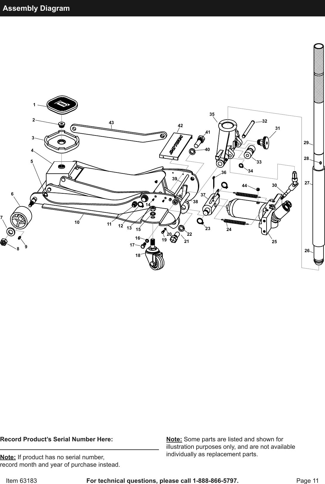 Manual For The 63183 3 Ton Daytona Professional Steel