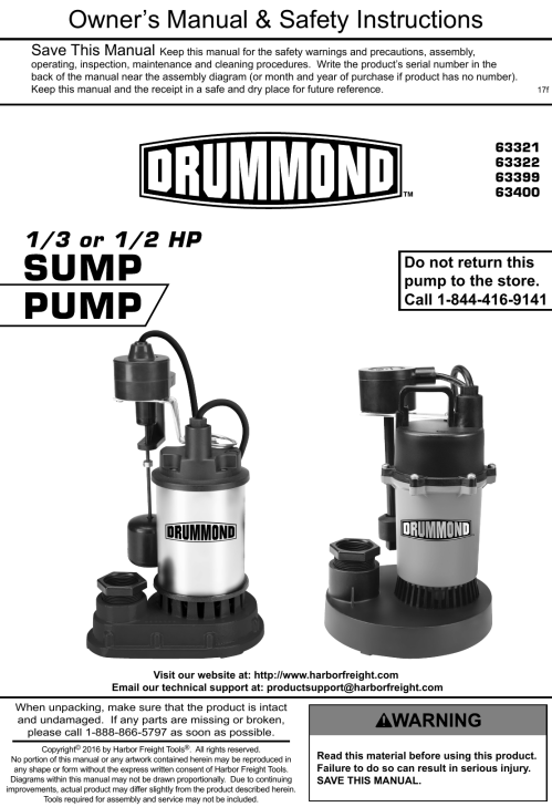 small resolution of manual for the 63400 1 2 hp submersible sump pump with heavy duty vertical float switch 4400 gph