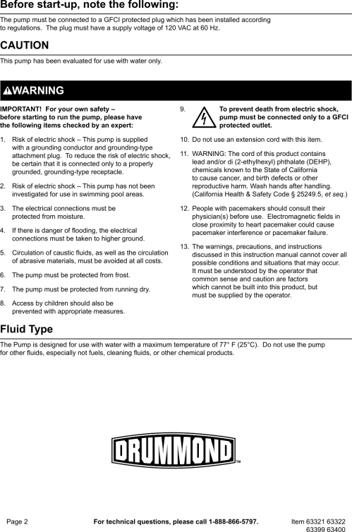 small resolution of page 2 of 8 manual for the 63400 1 2 hp submersible sump pump