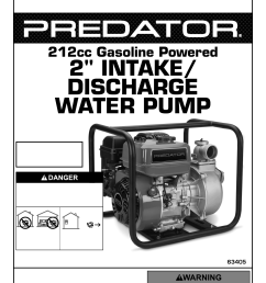 manual for the 63405 2 in intake discharge 212cc gasoline engine water pump 158 gpm [ 1191 x 1684 Pixel ]