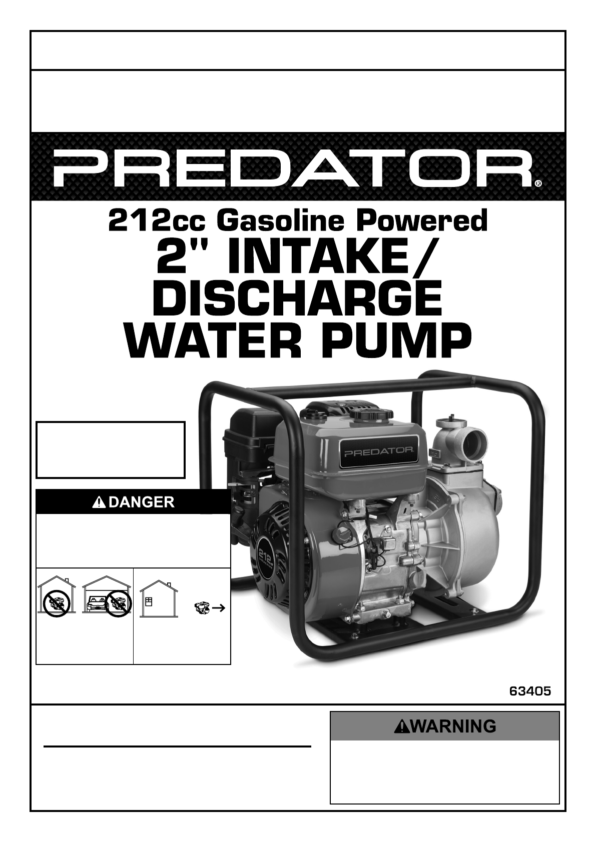 hight resolution of manual for the 63405 2 in intake discharge 212cc gasoline engine water pump 158 gpm