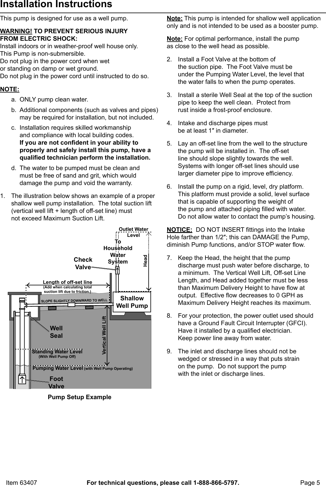 hight resolution of page 5 of 12 manual for the 63407 1 hp stainless steel shallow well pump