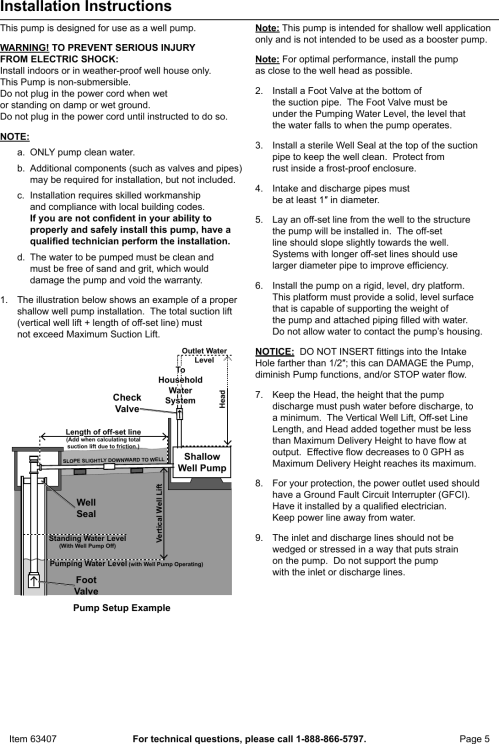 small resolution of page 5 of 12 manual for the 63407 1 hp stainless steel shallow well pump