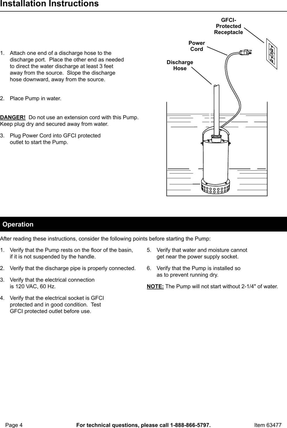 medium resolution of page 4 of 8 manual for the 63477 3 4 hp submersible utility pump