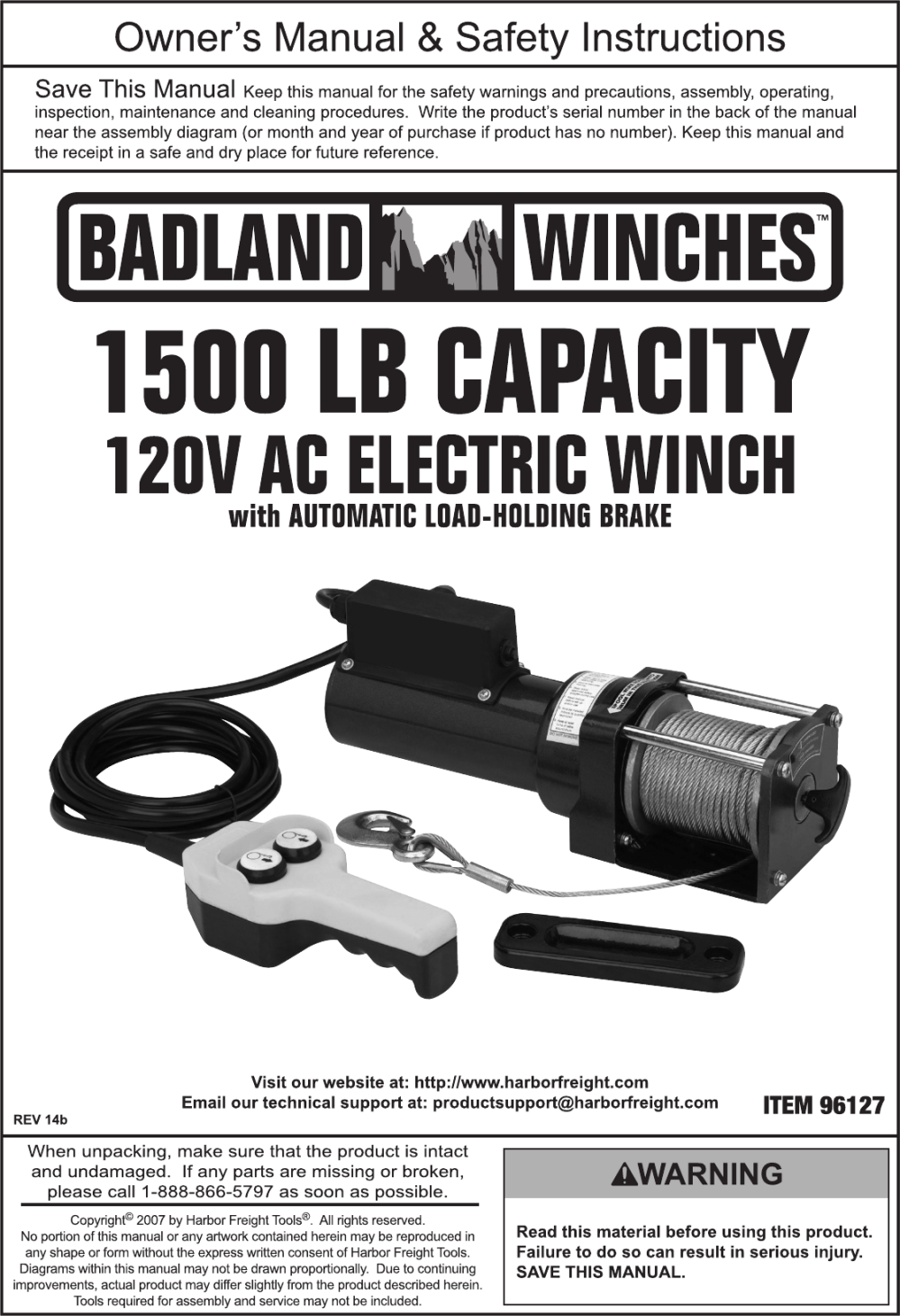 medium resolution of  manual for the 96127 1500 lb capacity 120 volt ac electric winch on
