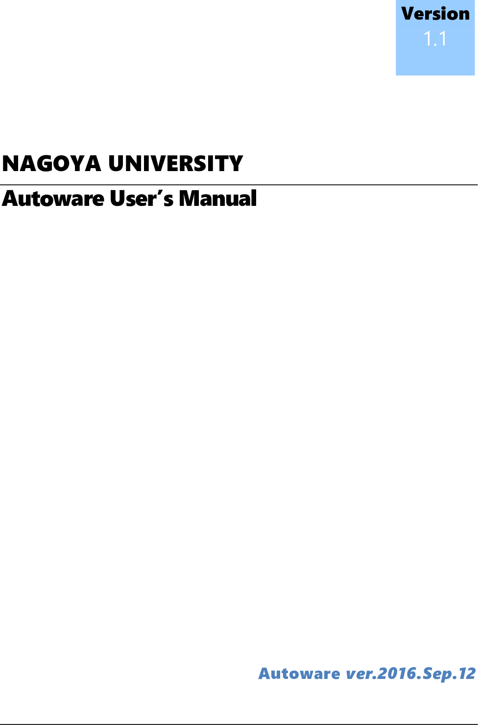 Autoware Users Manual V1.1