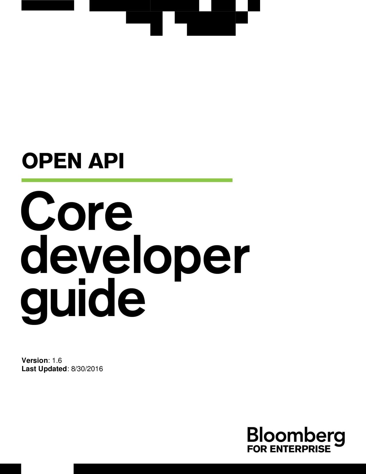 Core API Training BLPAPI Developer Guide