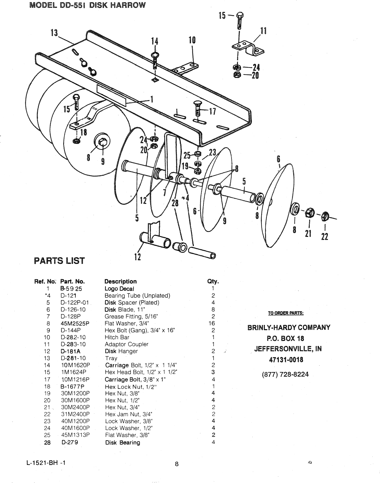 Brinly Sleeve Hitch Disk Harrow (DD 551) Harrow(DD
