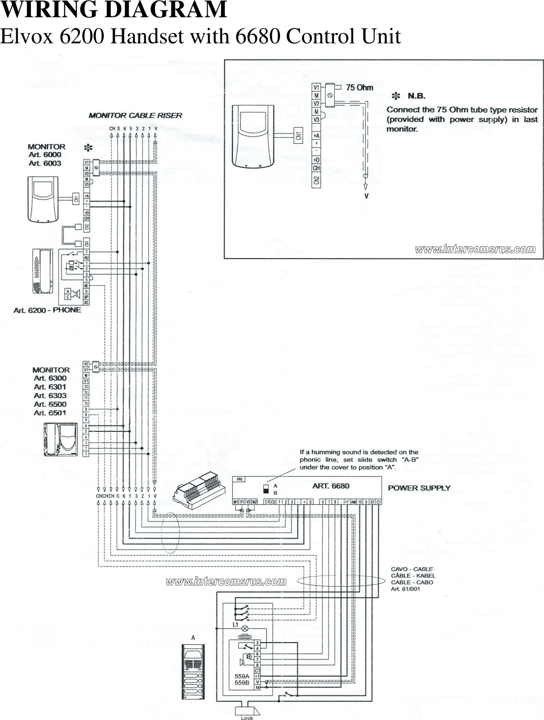Elvox 6200 Intercom Handset Data Sheet Elvox6200