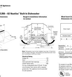 gsd2200g ge nautilus gsd2200 dishwasher quick specs [ 1467 x 1090 Pixel ]