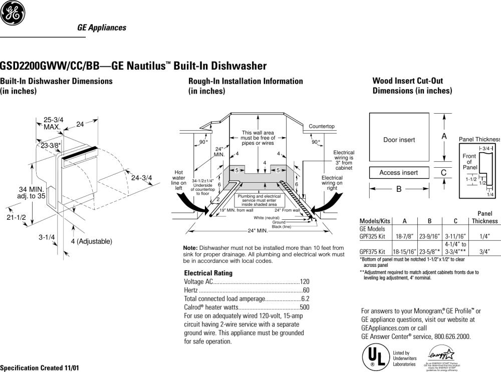 medium resolution of gsd2200g ge nautilus gsd2200 dishwasher quick specs