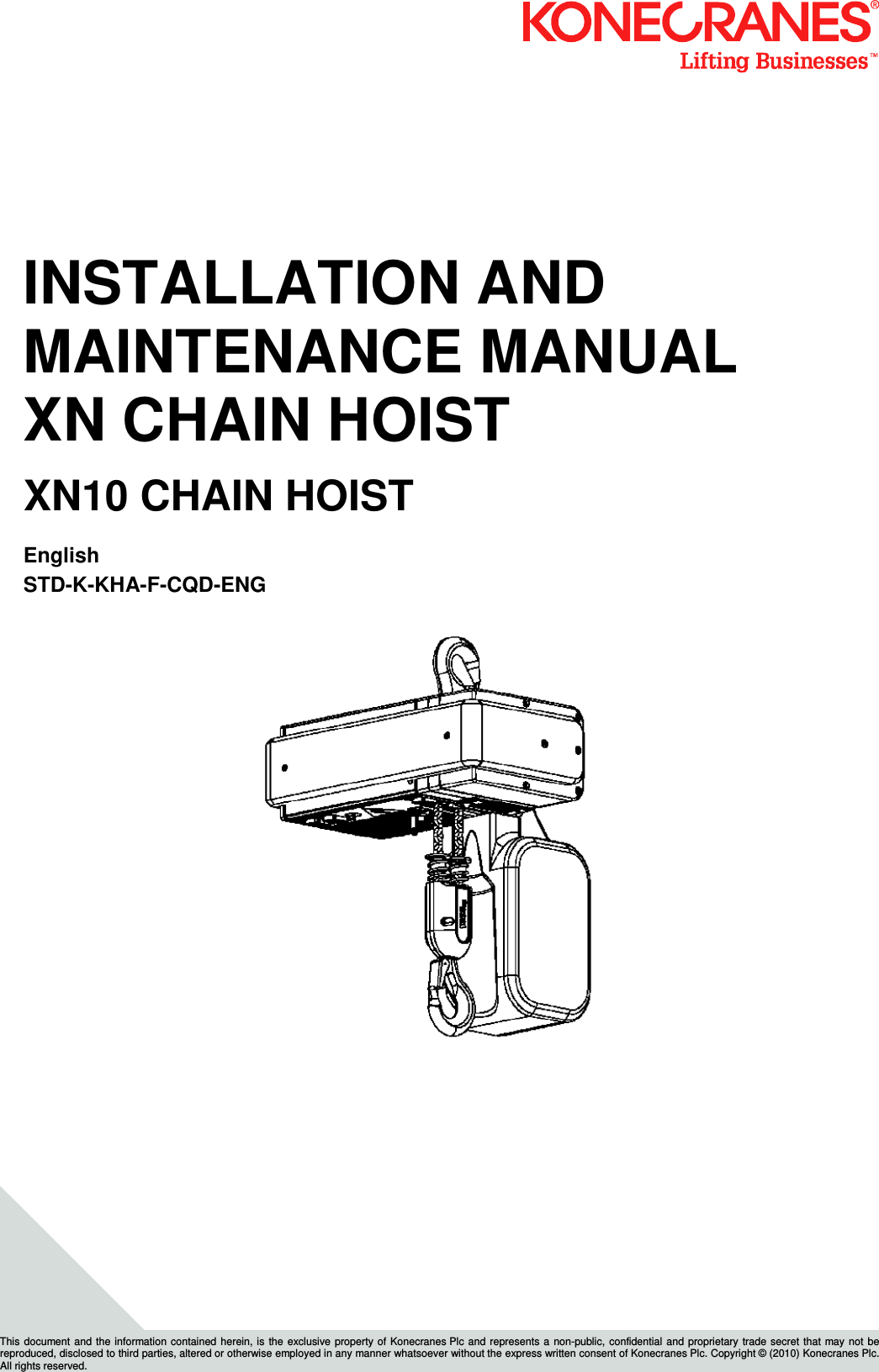 XN10 I&M MANUAL 2010 0 Kone Cranes Hoist