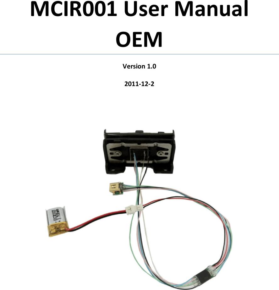 MCIR001 Manual