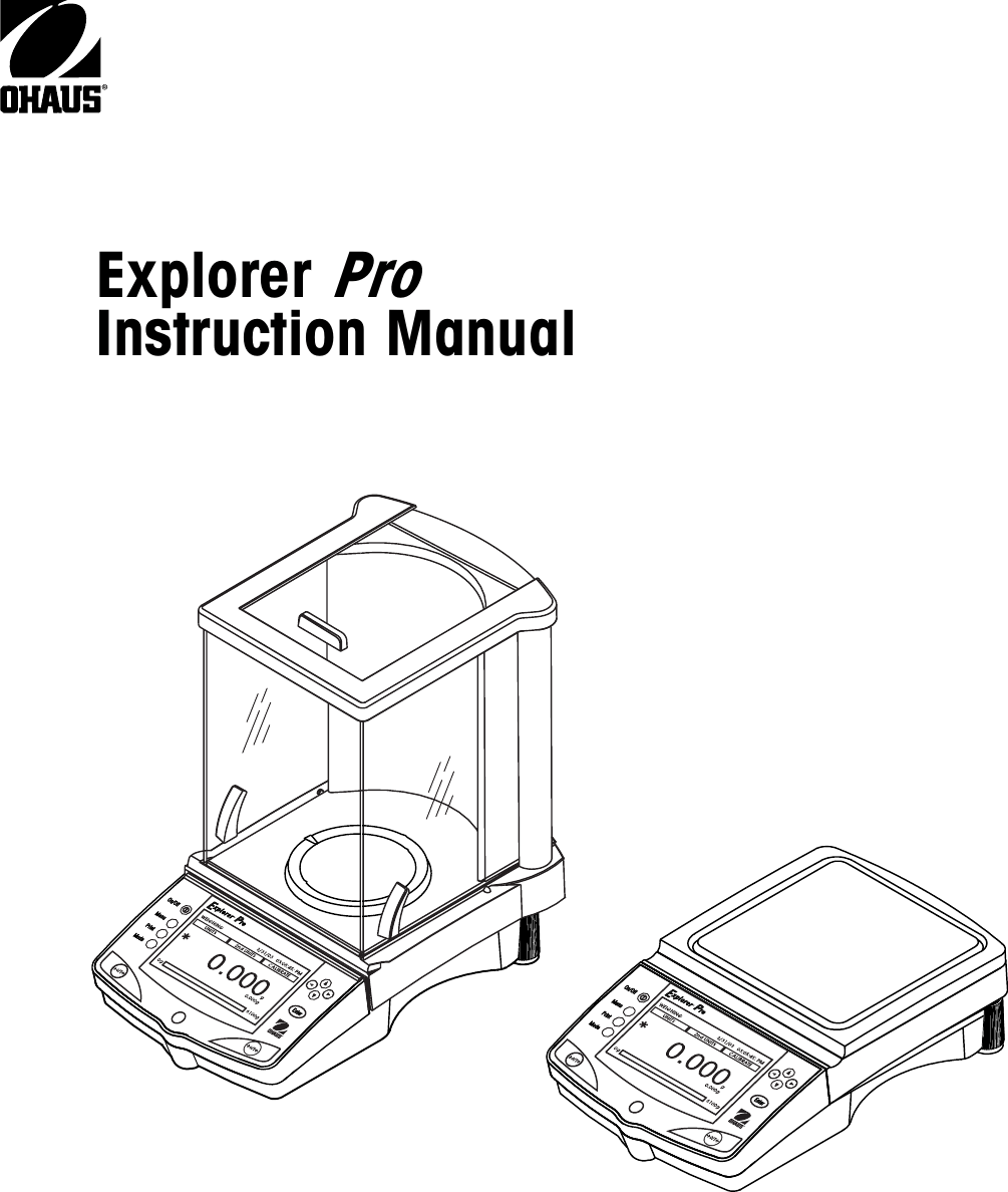 1 Explorer Pro Front Cover English.P65 Ohaus EP214 Balance