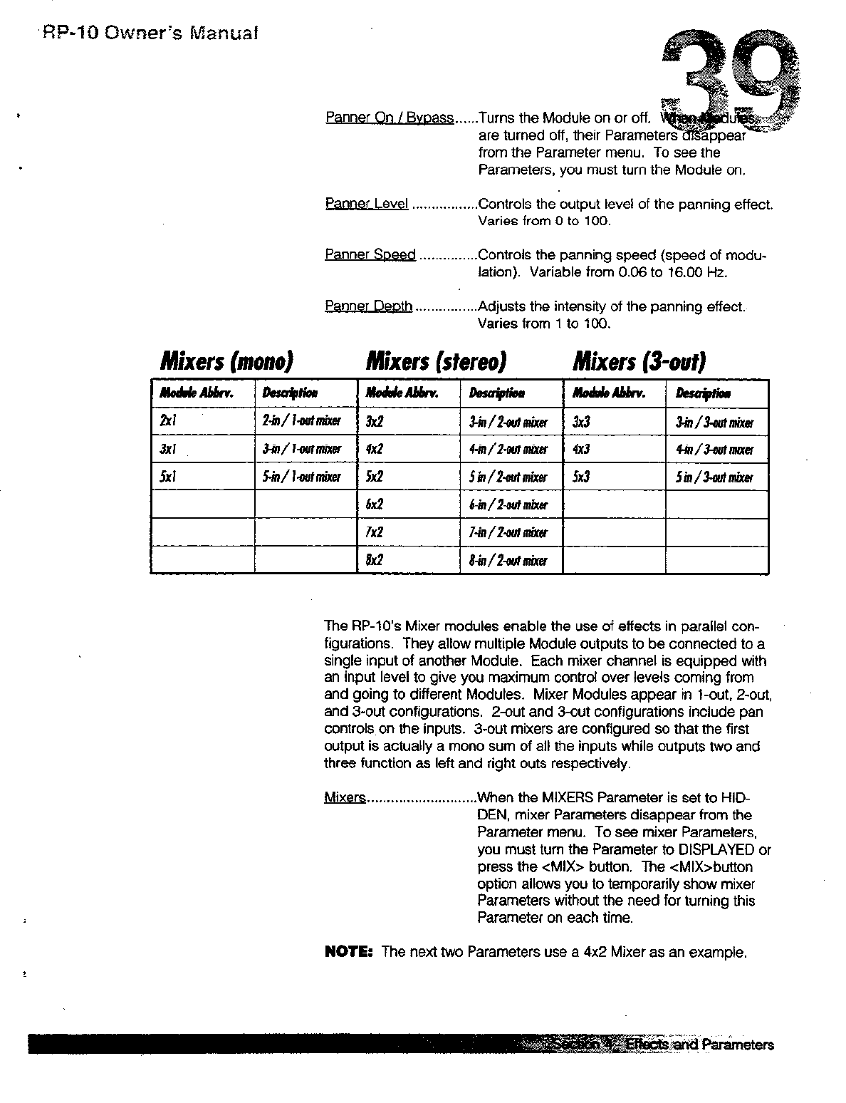 Scan Digi Tech RP10 Guitar Effects Owner's Manual