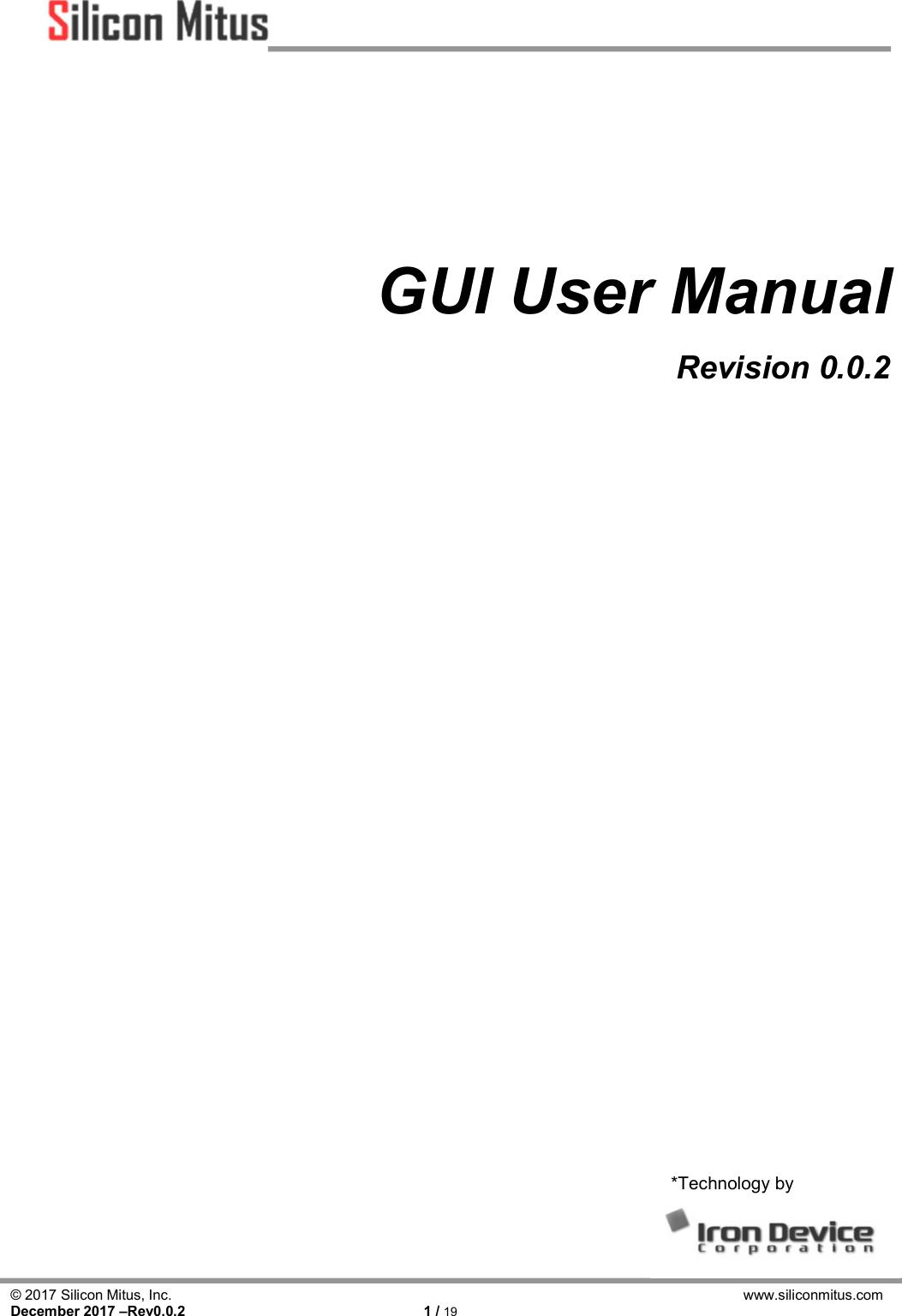 SMA1301_GUI_User_Manual_Rev0.0.2x SMA1301 GUI User Manual