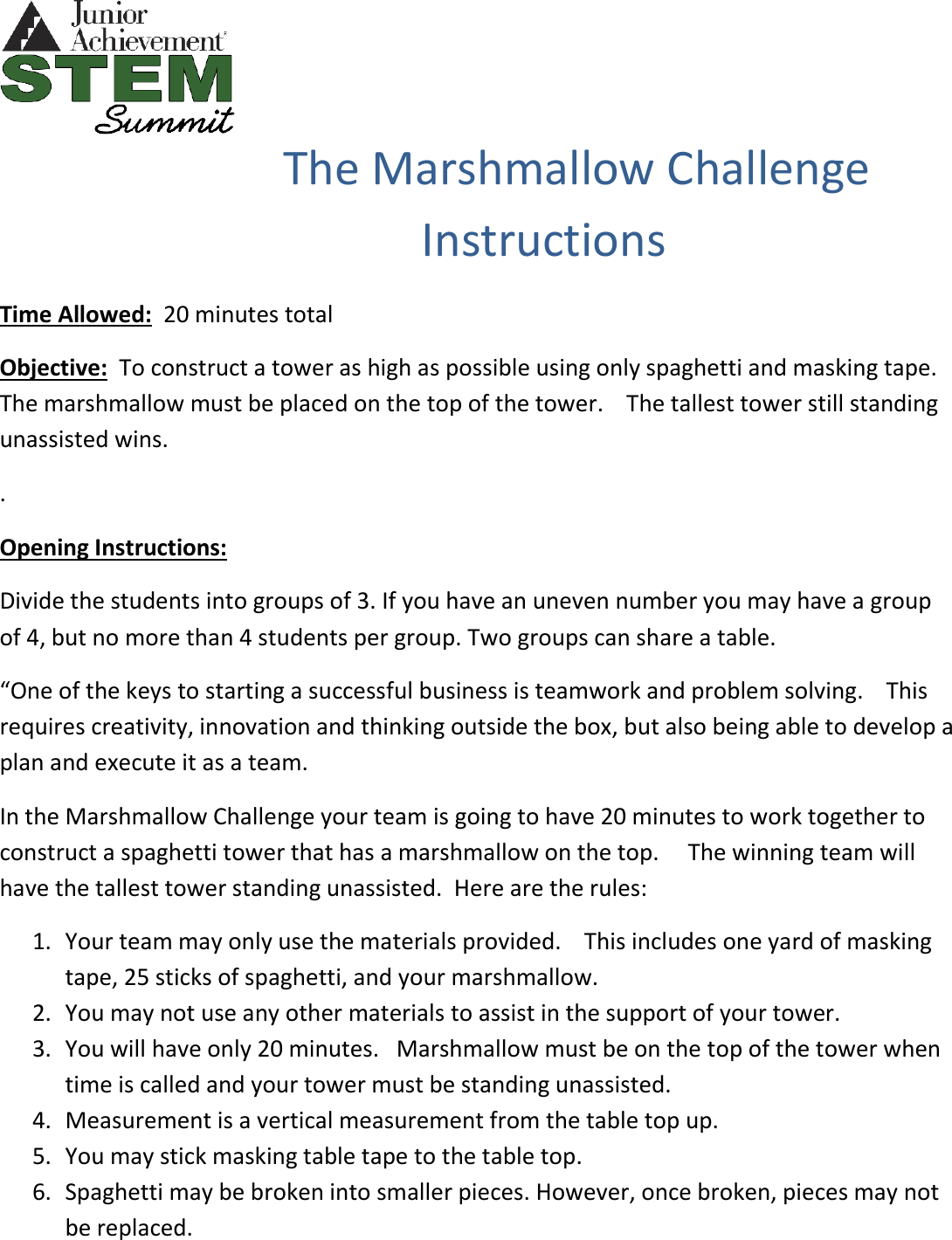 Get Inspired For Marshmallow Challenge Rules Photos