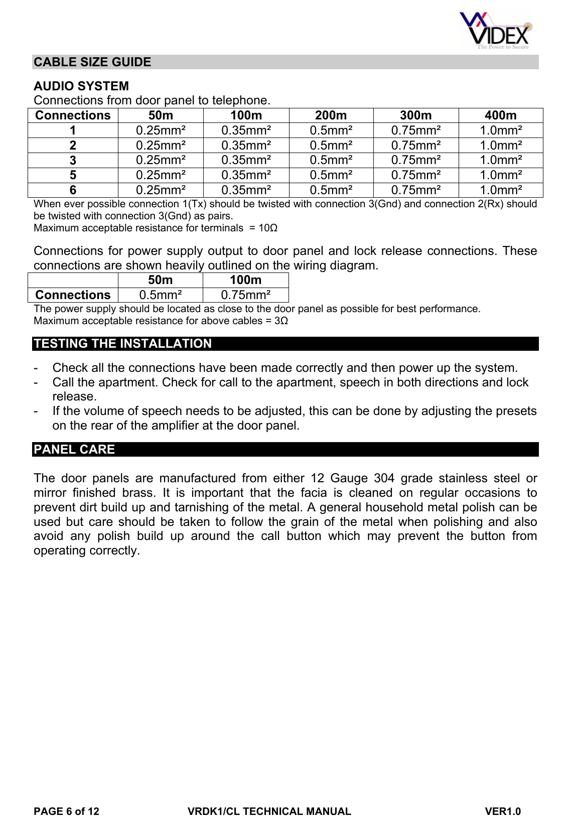 hight resolution of page 6 of 12 vrdk1clmanual videx vrdk1cl manual with codelock