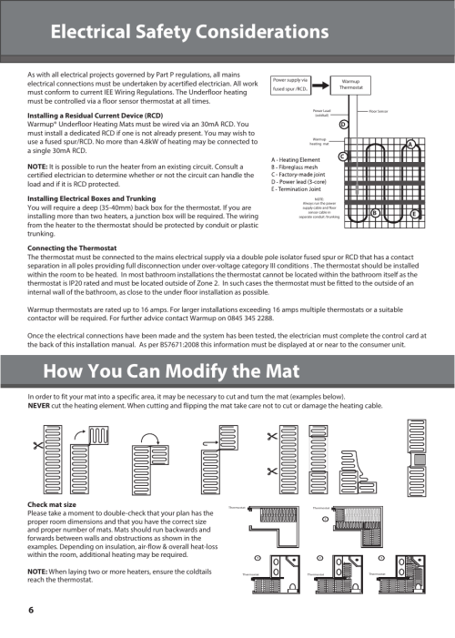 small resolution of page 6 of 12 warmup sticky mat installation manual