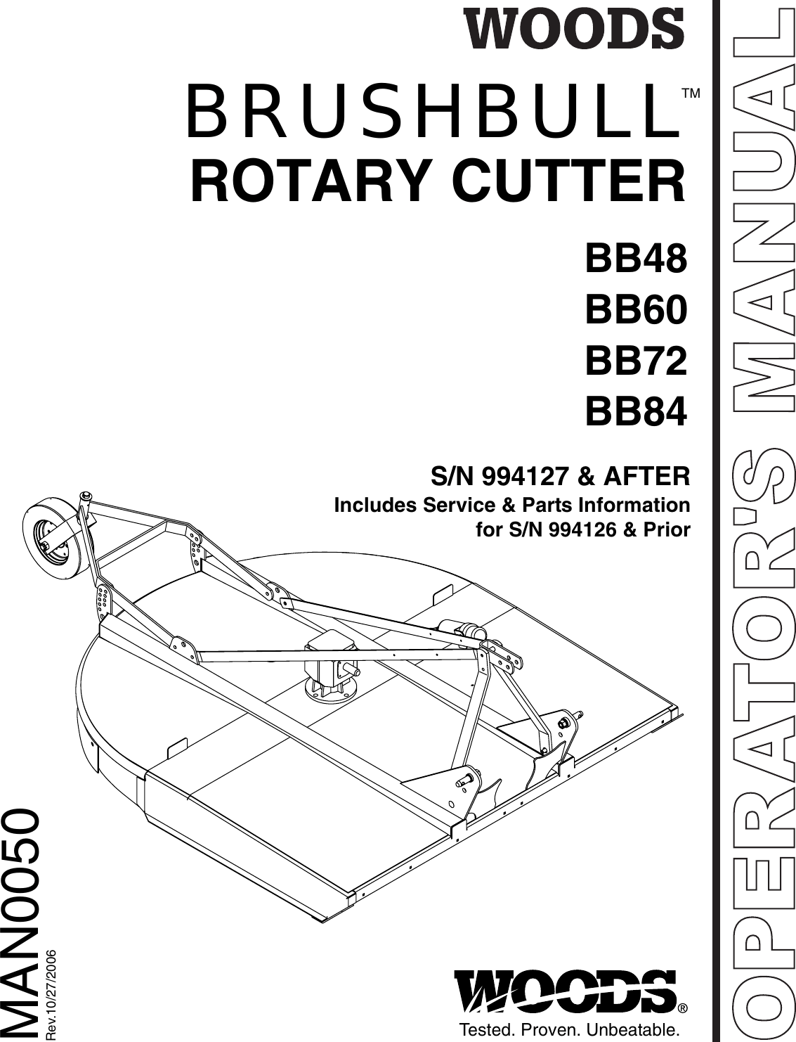 Brushbull Rotary Cutter BB48, BB60, BB72, And BB84