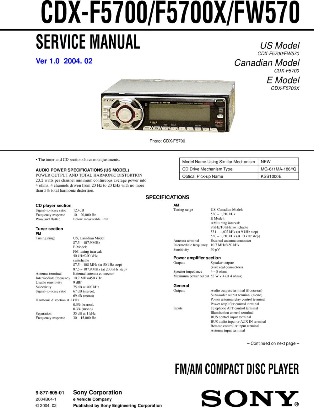 medium resolution of sony cdx fw570 wiring diagram
