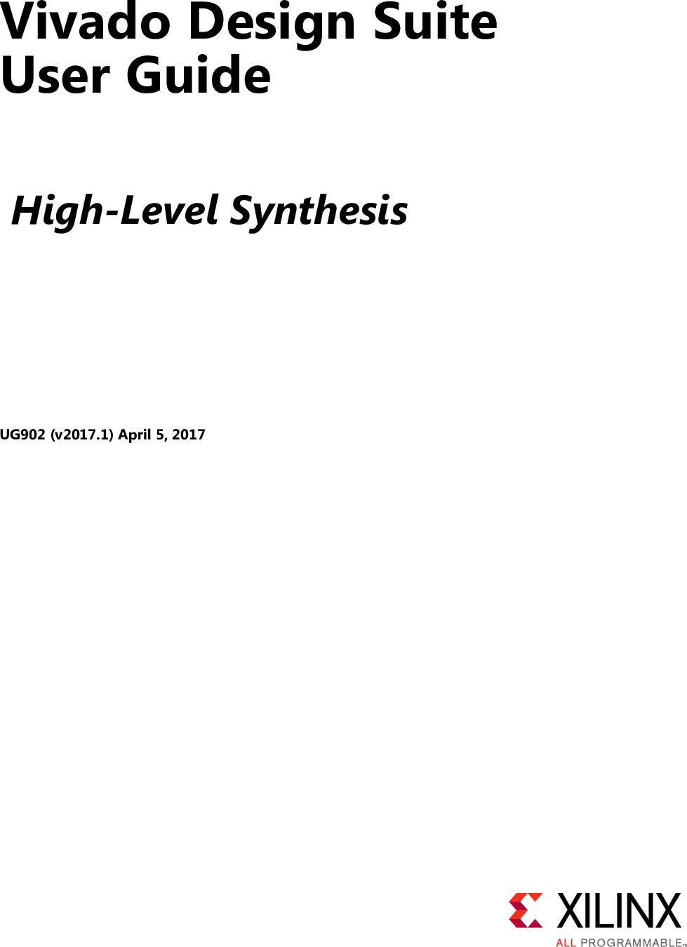 Vivado Design Suite User Guide: High Level Synthesis