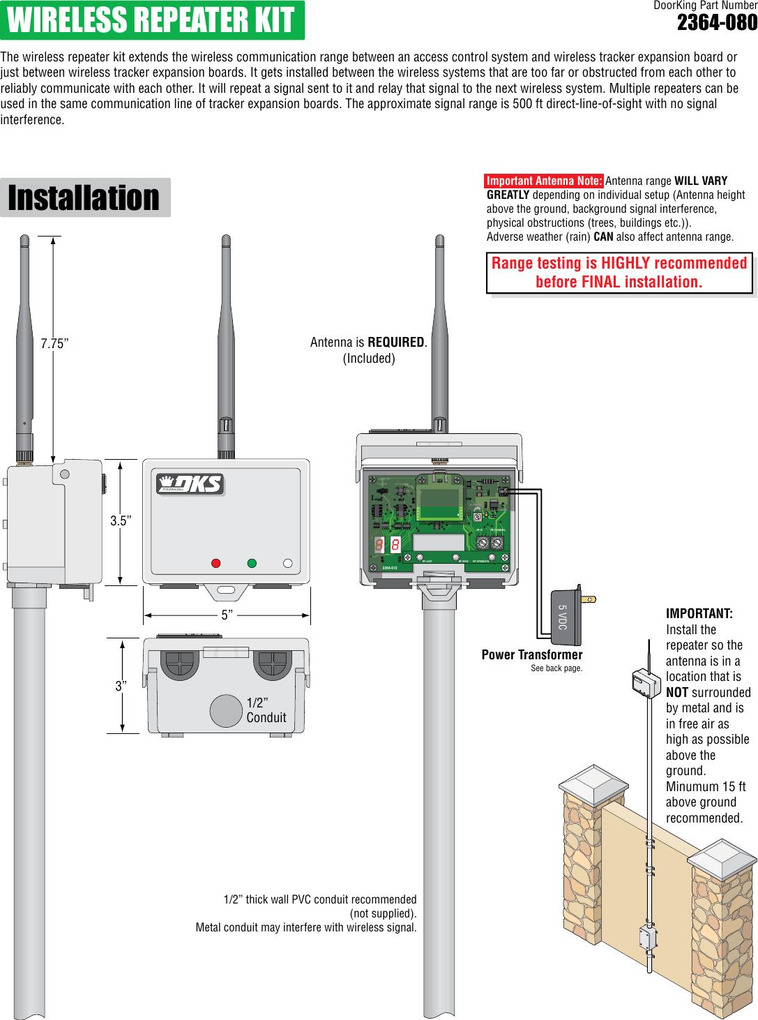 hight resolution of doorking 2364 065 e 11 14 door king wireless repeater kit installation manual
