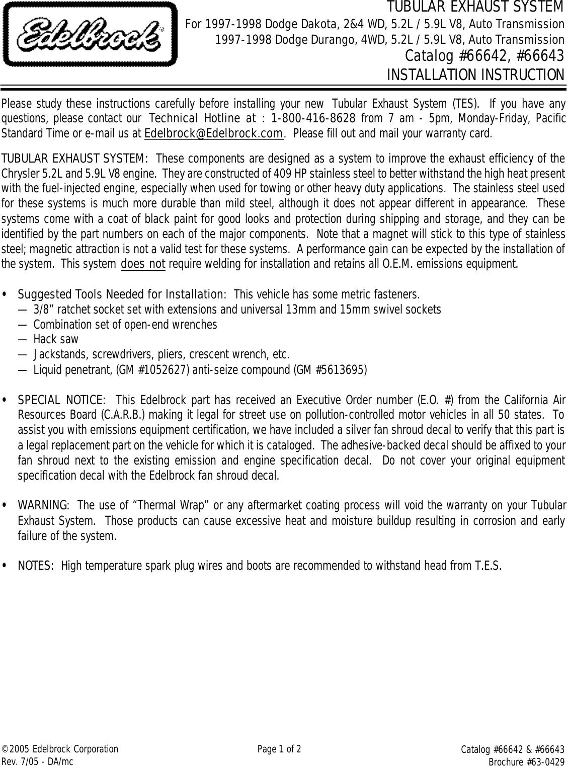 hight resolution of edelbrock 66642 users manual 66642 66643 tes for 97 98 dodge dakota durango 2 4 wd auto trans