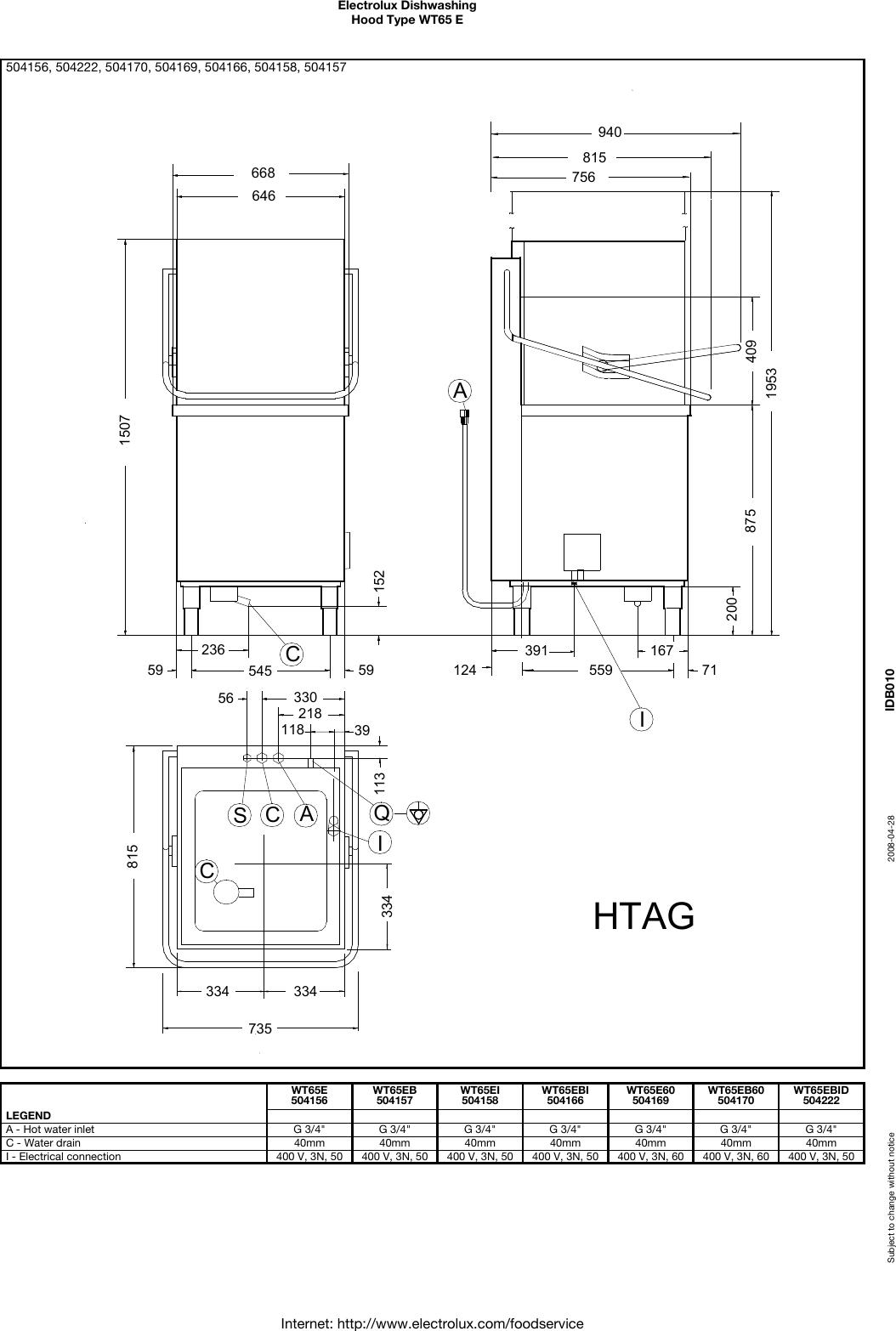 Electrolux WT65E Dishwashing User Manual To The 6fe5972e
