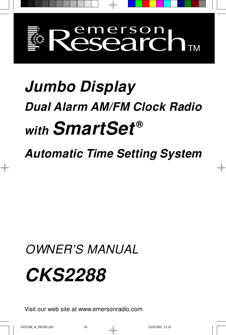 Emerson Cks2288 Owners Manual