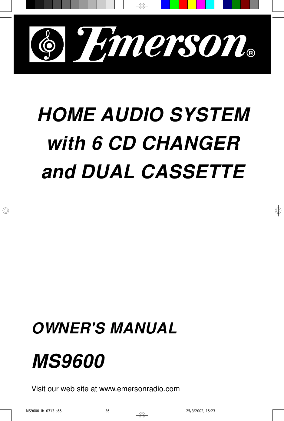 Emerson Ms9600 Owners Manual