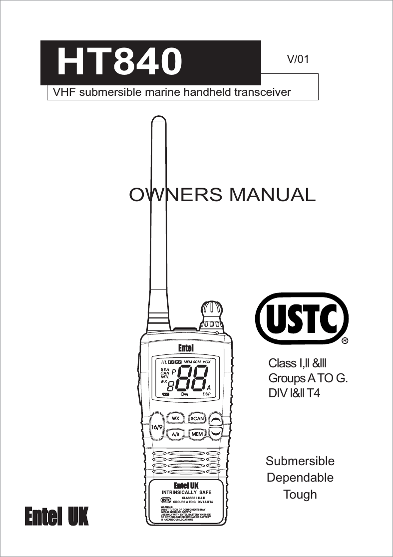 Entel UK HT840 Hand held marine radio User Manual 01p1
