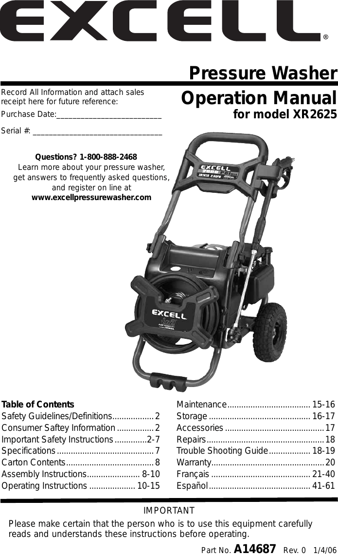 Excell Precision Xr2625 Users Manual