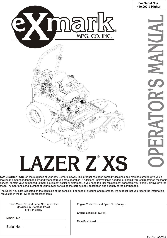 Exmark Lazer Z Xs Users Manual 103 6698
